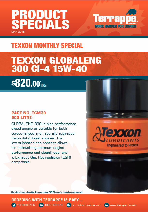 Texxon Monthly Special - May 2018
